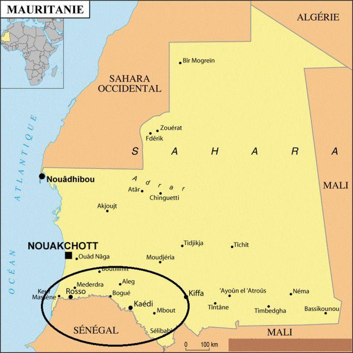 Les terres cultivables sont concentrées autour du fleuve Sénégal.