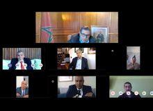 La réunion entre le ministre de l'Agriculture Aziz Akhannouch (en haut) et les représentants des différentes filières agricoles s'est tenue par visioconférence. Photo : MAM